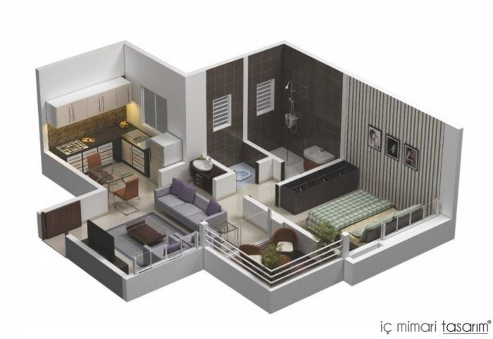 3D small house floor plans under 1000 sq ft #houseplan #floorplan - Logiciel De Maison 3d