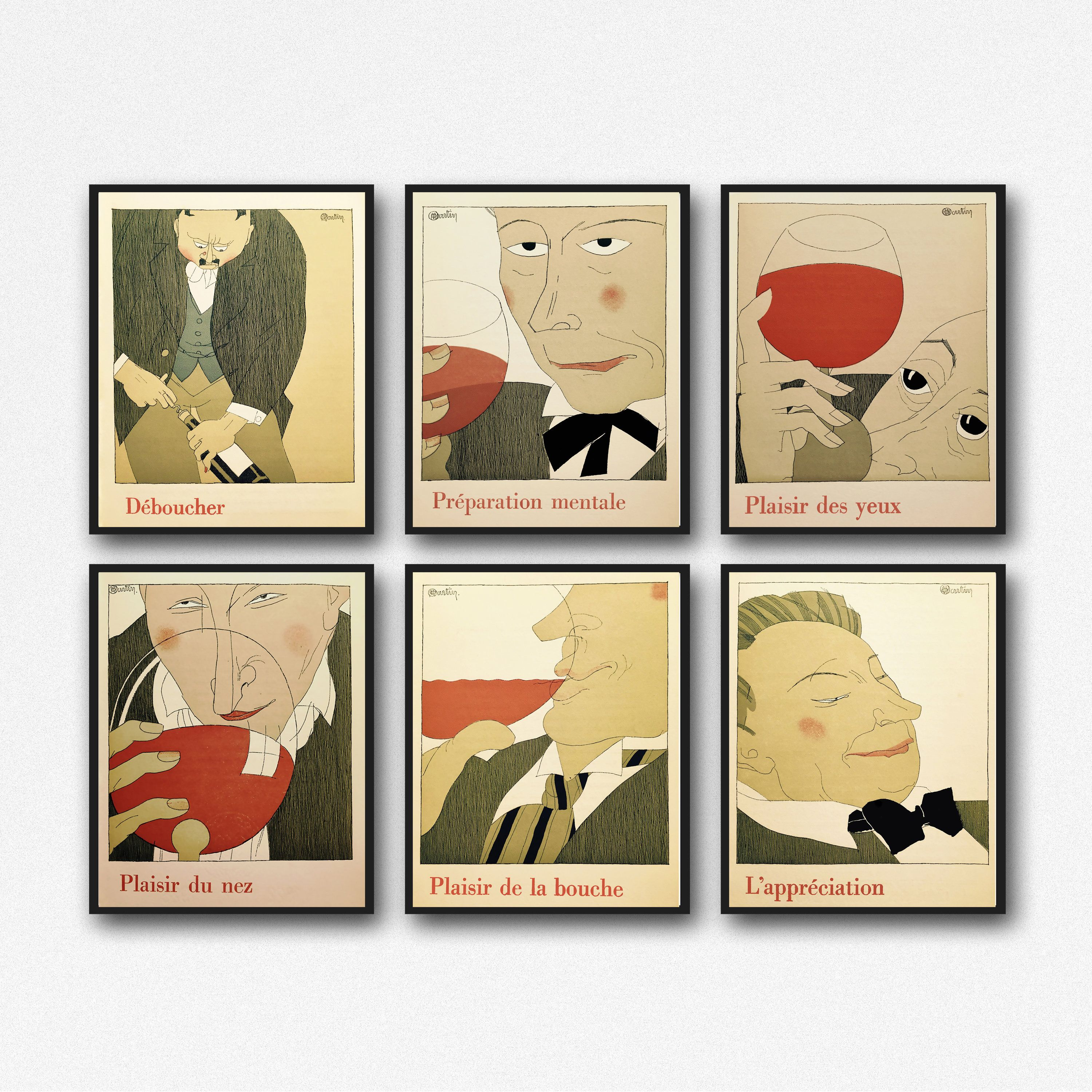 Wine Poster Wine Prints set of 6 Wine Posters Wine Gift Wine Wall ...