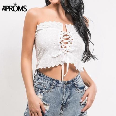 f429c64faa5 Aproms White Lace Ruffle Tube Crop Top Women Summer 2018 Streetwear Cool  Lace Up Tank Tops Casual Off Shoulder Bow Tie Camis