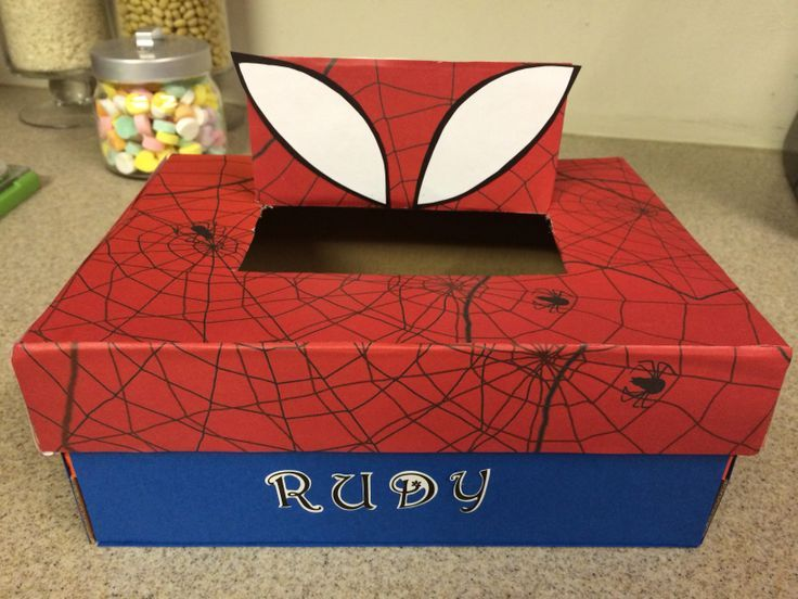 How To Decorate A Valentine Box Alluring Spider Man Valentine Shoe Box  Spiderman Valentine Box Ideas Inspiration