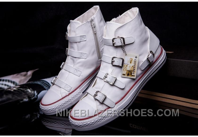 Discount CONVERSE VS ASH Multi Buckles Black Leather Chuck Taylor All Star High Tops Sneakers