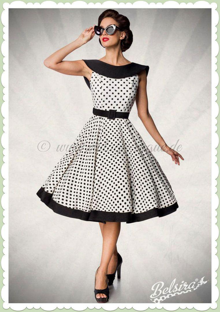 Belsira Premiun 18er Jahre Rockabilly Petticoat Swing Kleid - Weiß