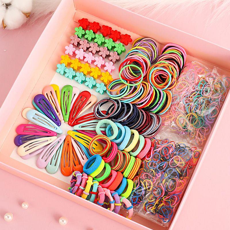 1set Girls Cute Elastic Hai Claw Hair Clips Girls Hair Accessories Flower Hair Pin