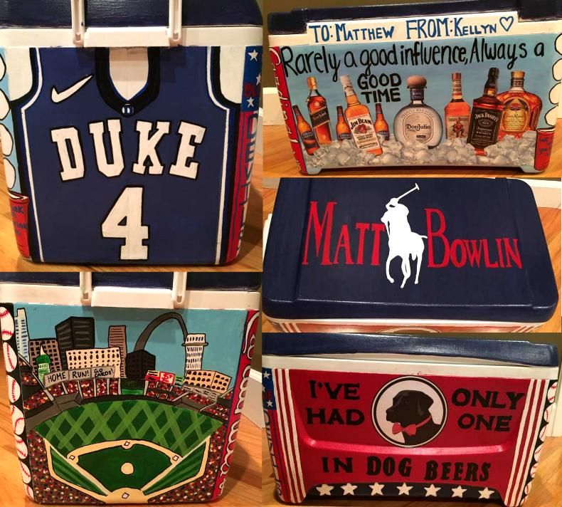 Diy Painted Cooler : Frat cooler diy paint duke jersey basketball alcohol beer