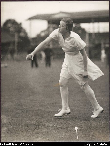 Myrtle MacLagan, English women's cricketer, 1934-35 team. What a beautiful photograph! Bowler in action...clothes in motion and the rest is all out of focus!