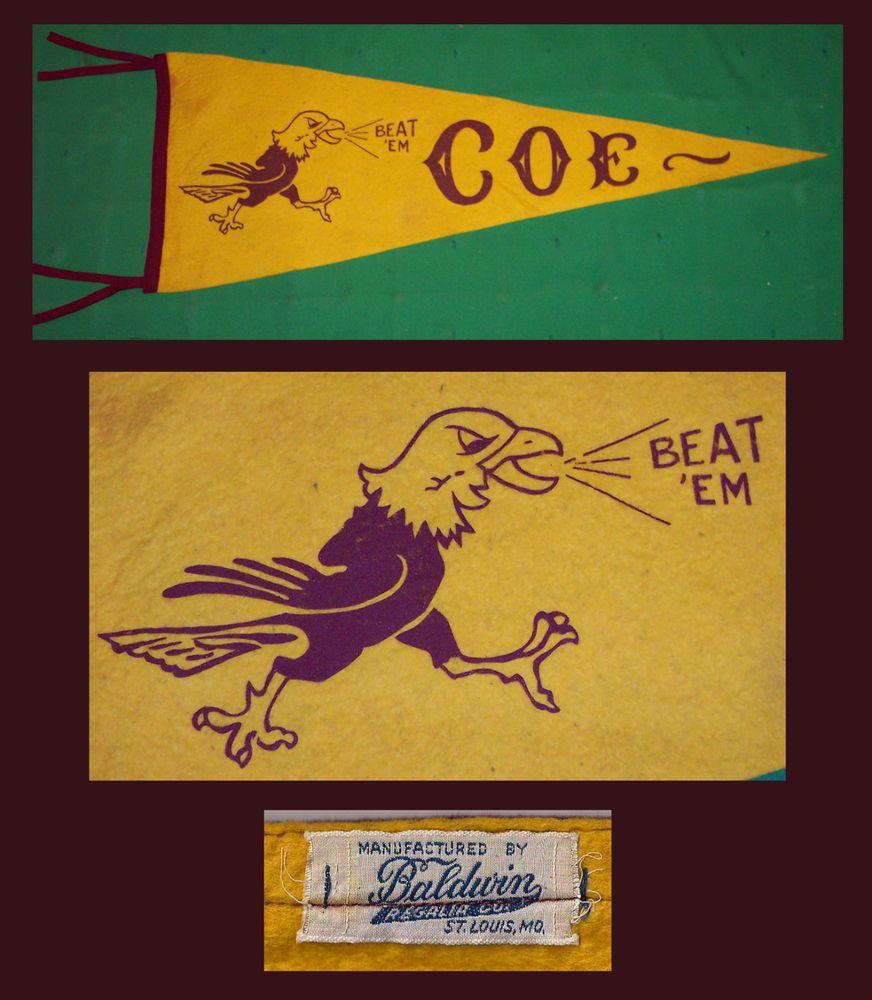 VINTAGE Coe College Kohawks Football Pennant! OLD!! | Classic ...