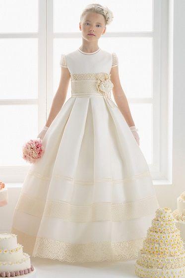 vestidos de primera comunion color beige
