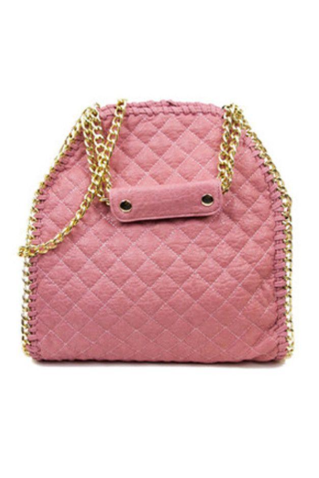 QUILTED LARGE SLIM BAG - Pink