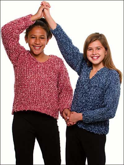 Knit - My First Sweater Size Child 8=14 - Bulky Weight [5] Yarn - Instructions for both hand  loom knitting
