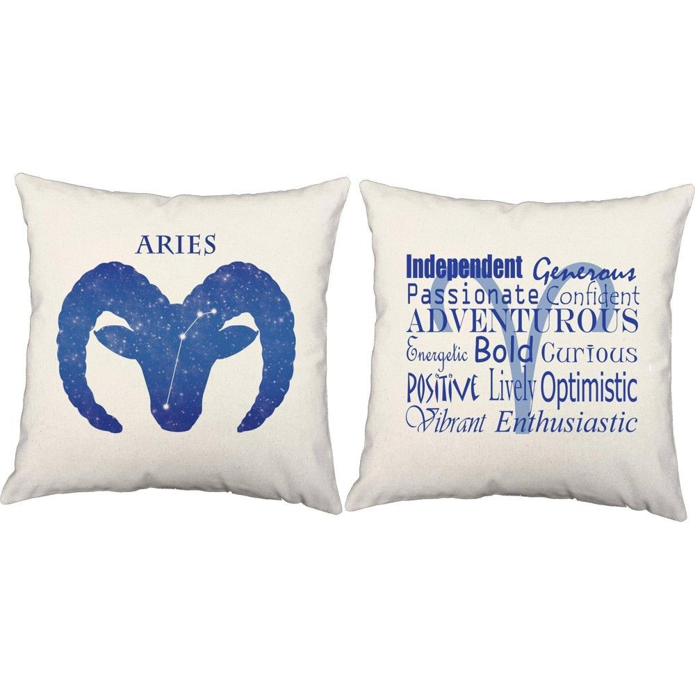 Set Of 2 Aries Throw Pillows 18x18 Inch Square White Indoor Outdoor Zodiac Sign Cushions Roomcraft Zodiac Throw Pillow Throw Pillows Zodiac Signs
