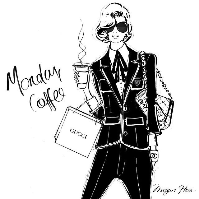 She wore a Gucci blazer with her boyfriend's trousers. Her sunglasses were almost as dark as her double espresso. She's my Monday coffee girl!