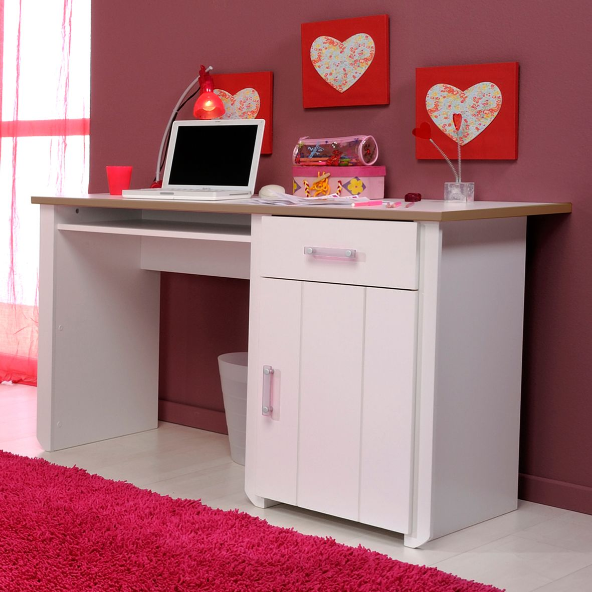 Desks For Kids Part - 40: Impressive Desks For Kids With Cute Decoration: Beautiful Brown Wall Heart  Shape Decor Tobie Study Desks For Kids Design Finished With White.