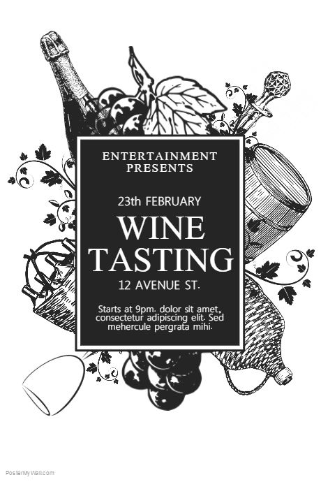Wine Tasting Flyer Template PosterMyWall Event poster - black and white flyer template