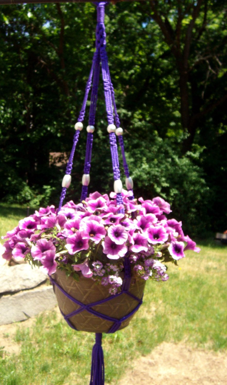 Handmade Macrame Plant Hanger Natural with Purple Beads
