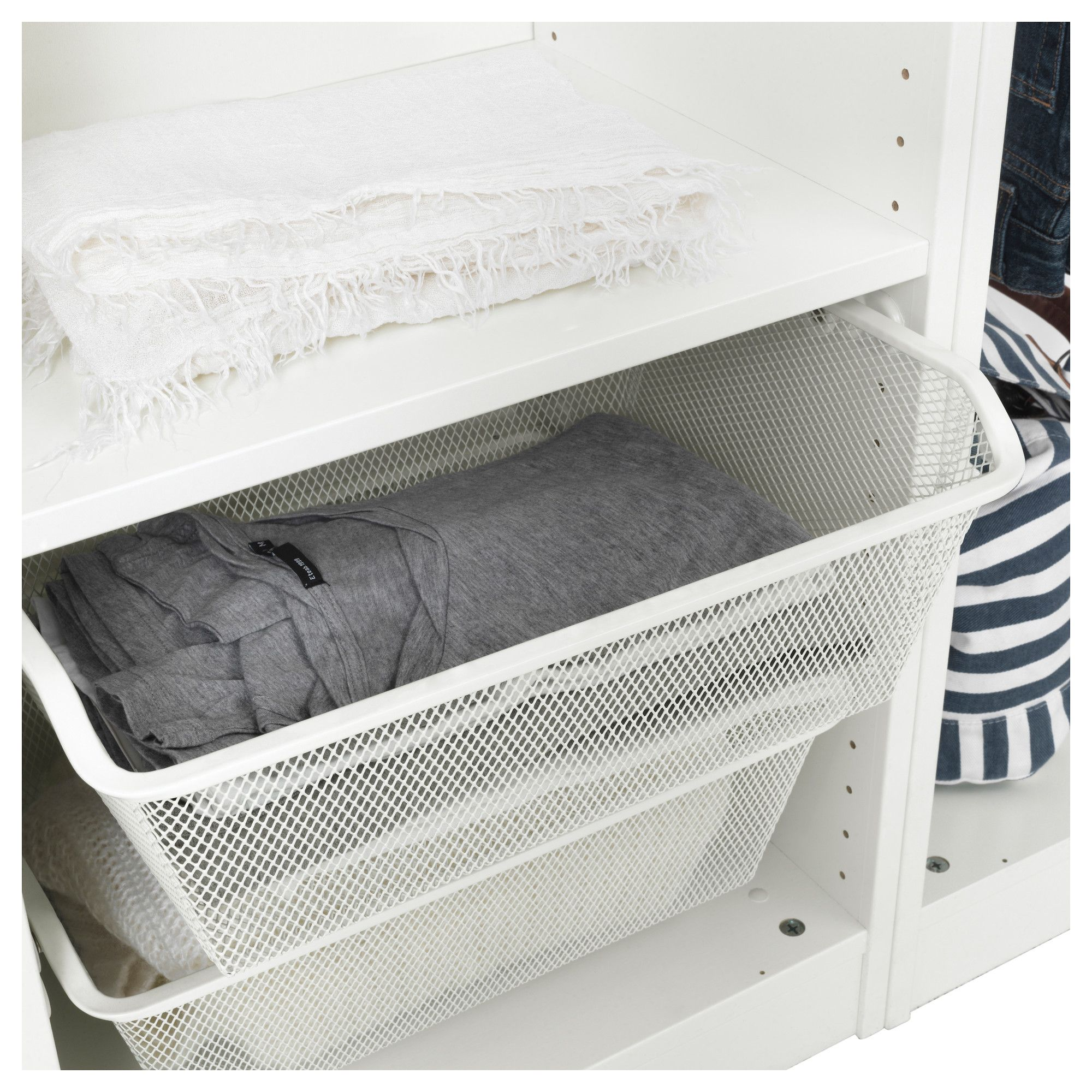 Komplement Mesh Basket With Pull Out Rail White 19 5 8x13 3 4 50x35 Cm Ikea Komplement Ikea Ikea Pax Wardrobe