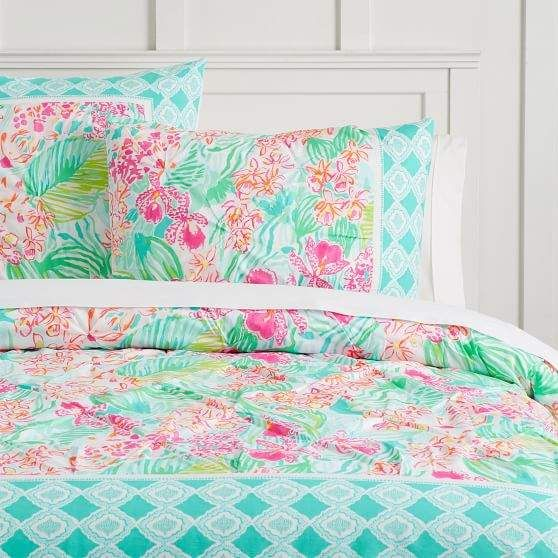 Lilly Pulitzer Organic Orchid Border Duvet Cover King