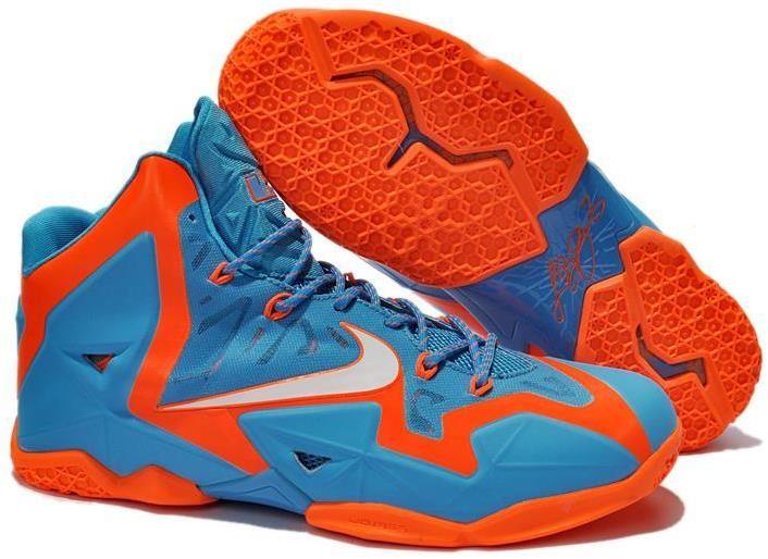 the latest 47360 1c086 Nike Lebron 11 Orange Blue White Shoes