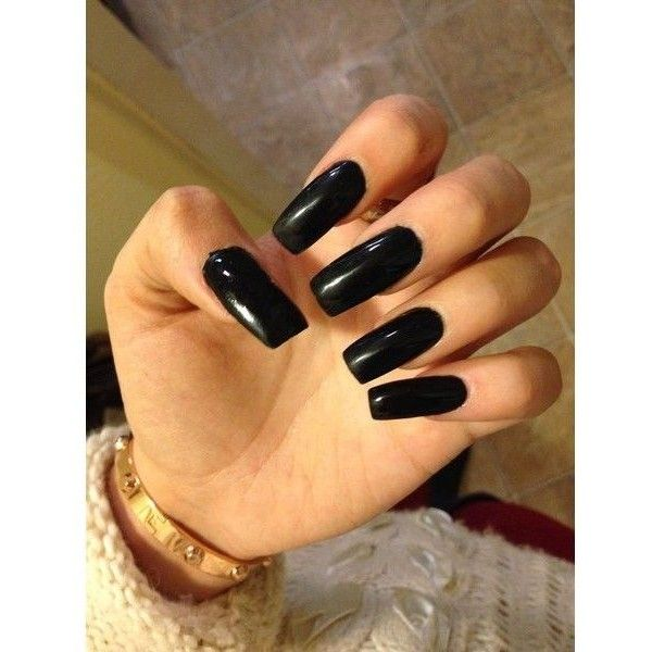 Long black acrylic square nails. ❤ liked on Polyvore featuring ...