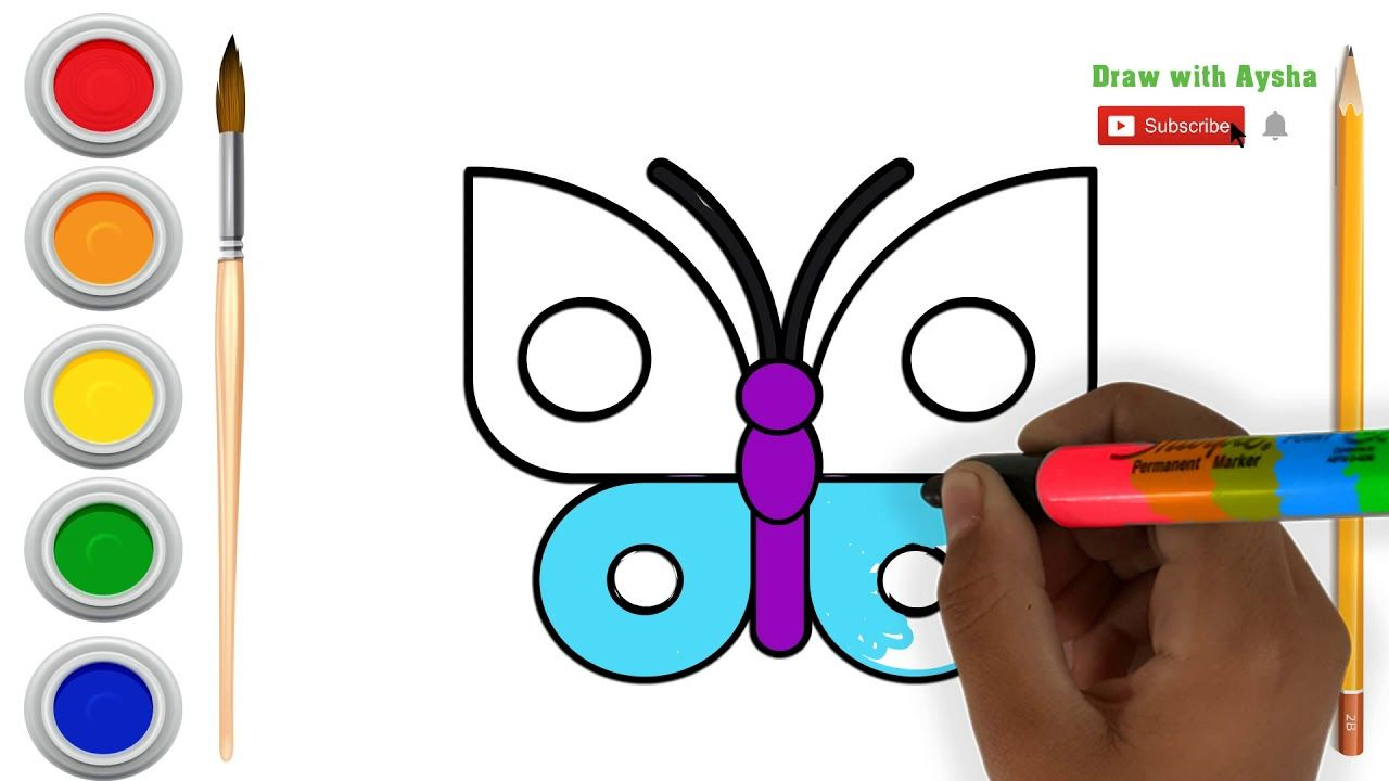 تعليم الأطفال رسم فراشة رسم فراشة جميلة وتلوينها تعليم الرسم للأطفال Kids Education Education Kids