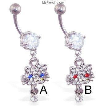 MsPiercing Navel Ring With Dangling Cat