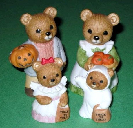 4 pc halloween homco home interior bear figurines 5209