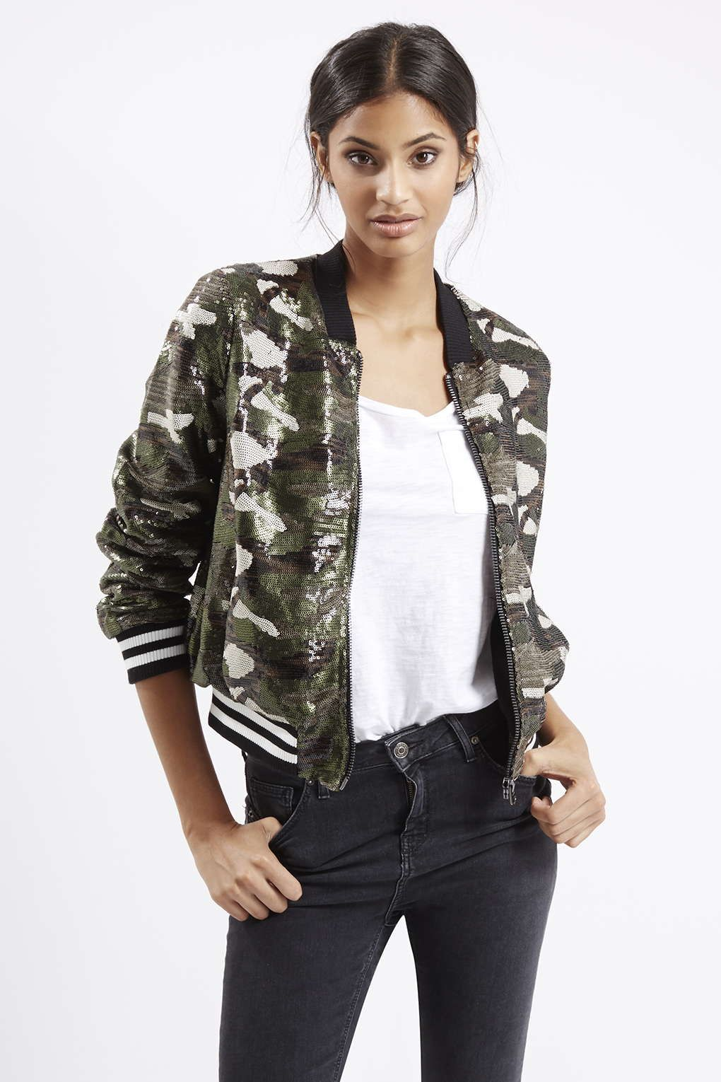 6c9d43820a35f Photo 3 of Camo Sequin Bomber Jacket | My Style | Bomber Jacket ...