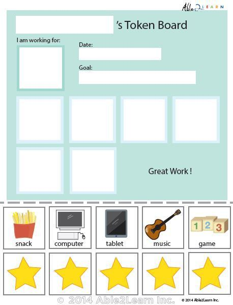 photograph relating to Token Board Printable named Token Board - Uncomplicated Famous people - 5 Tokens Setting up of the