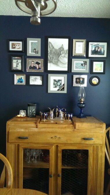 Dark Kitchen At Night gallary photo arrangement on dark blue wall (starless night