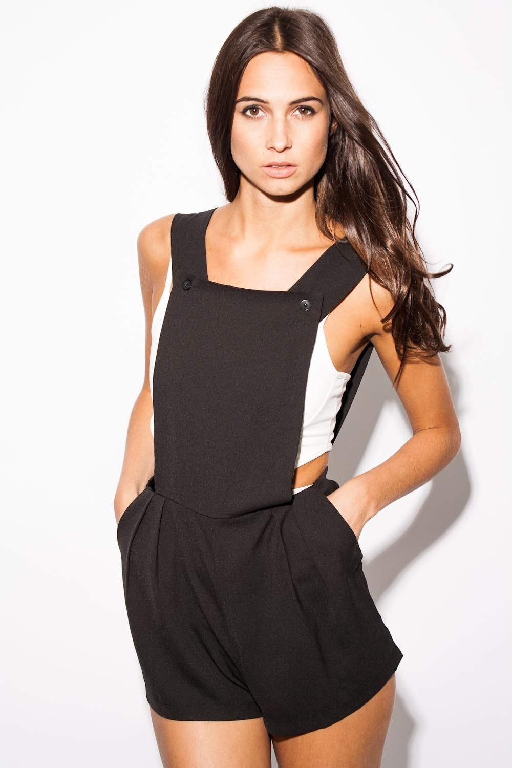 6cac86cc23 Heather Pinafore Playsuit In Black