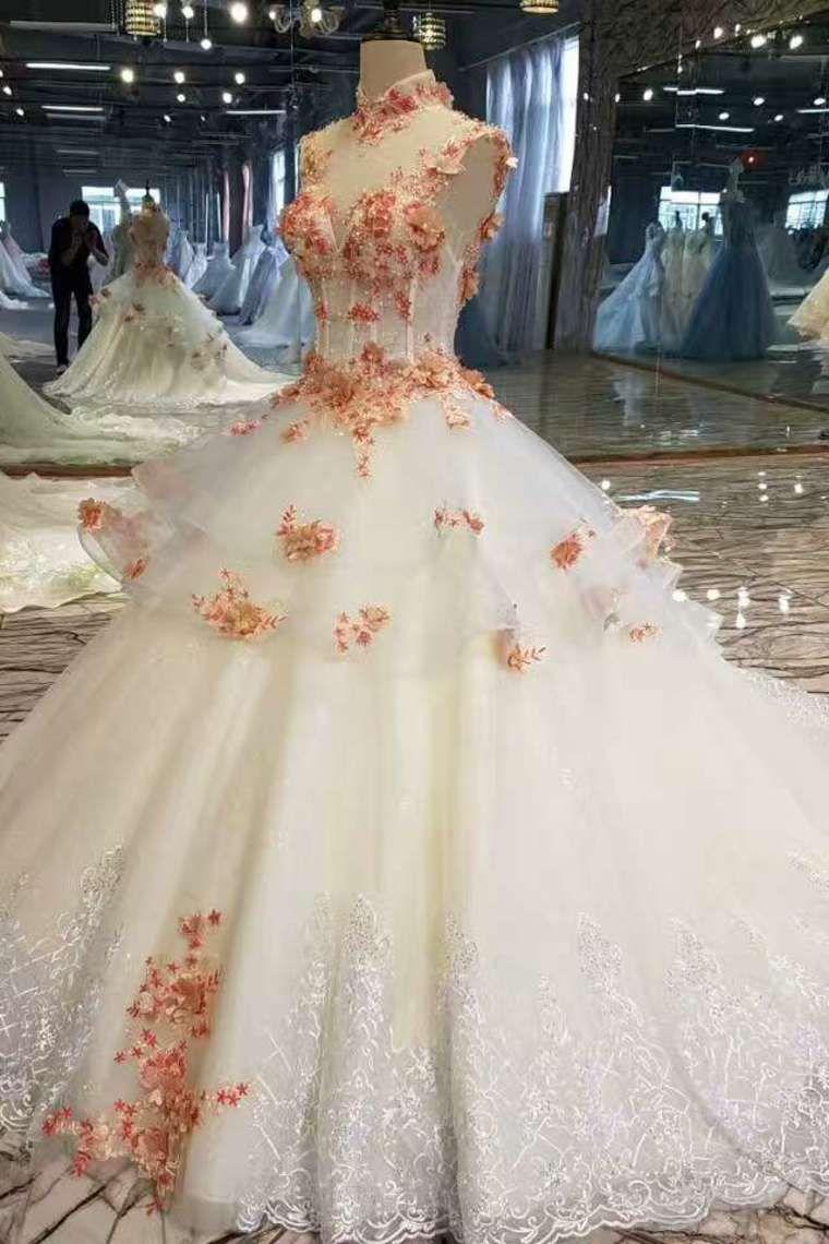 2019 nuevos vestidos de boda del cuello de la nueva llegada con los Appliques y las perlas ata para arriba US$ 458.99 VTOP1NA9YYC - VestidoBello.com for mobile