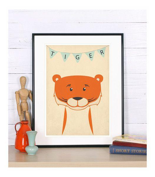 Retro Poster, Tiger Bild, Kinderzimmer, Tiere, A4 von