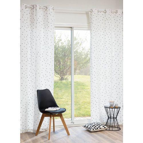 rideau motifs triangles en coton blanc 250 x 105 cm deco. Black Bedroom Furniture Sets. Home Design Ideas