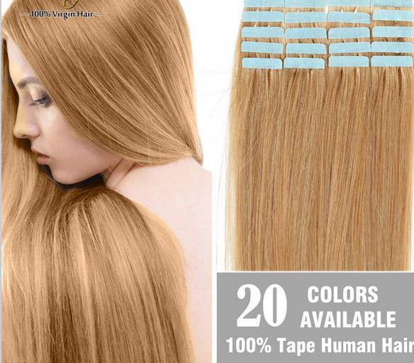 20 40 Pcs Blonde Tape In Real Human Hair Extensions Brazilian Weft
