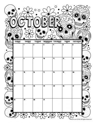 October 2018 Coloring Calendar Page Fun Stuff Pinterest