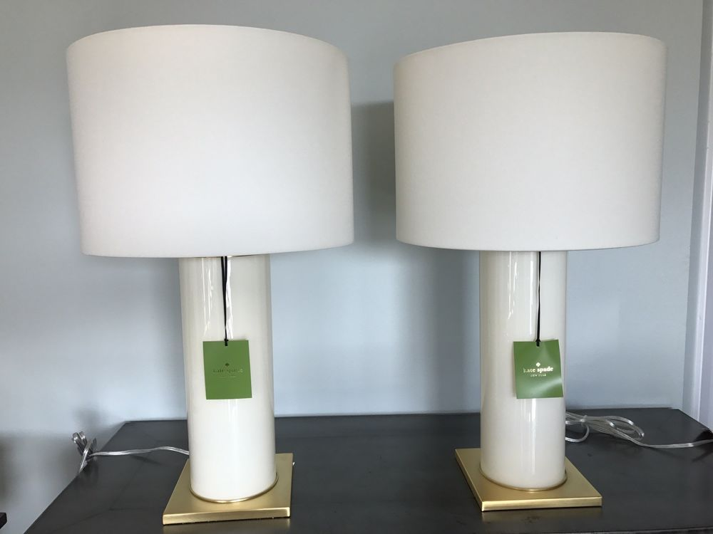 2x Nwt Kate Spade Cylindrical Cream Table Lamps W White Shade