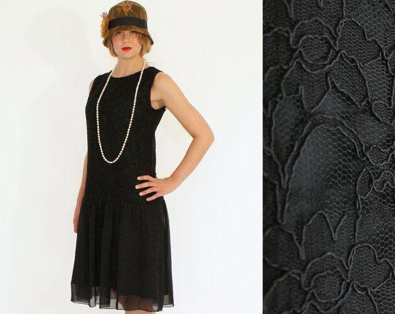 Flapper Dress In Black Lace And Chiffon Great Gatsby Dress 1920s Dress Drop Waist Dress Robe