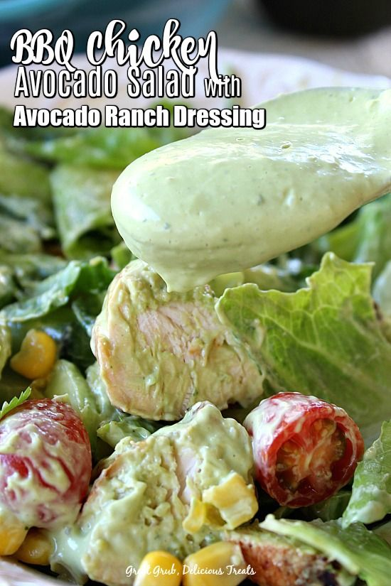 BBQ Chicken Avocado Salad with Avocado Ranch Dressing #avocadoranch