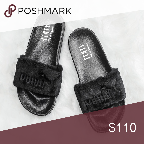 b8683be4ef40 Rihanna fenty puma slides Black Puma Shoes Slippers