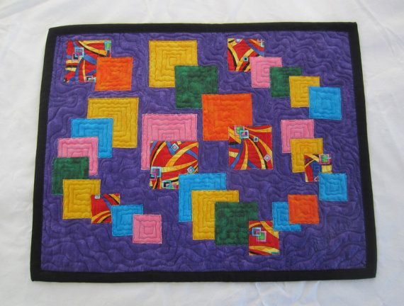 Colorful Squares Wall Hanging or Table Topper or place mat  by CraftySewing, On Sale $29.99