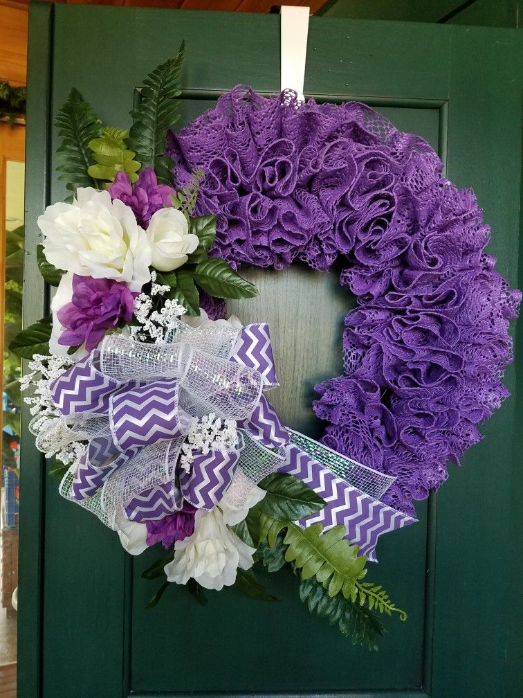 Purple lace shelf liner wreath Burlap flower wreaths