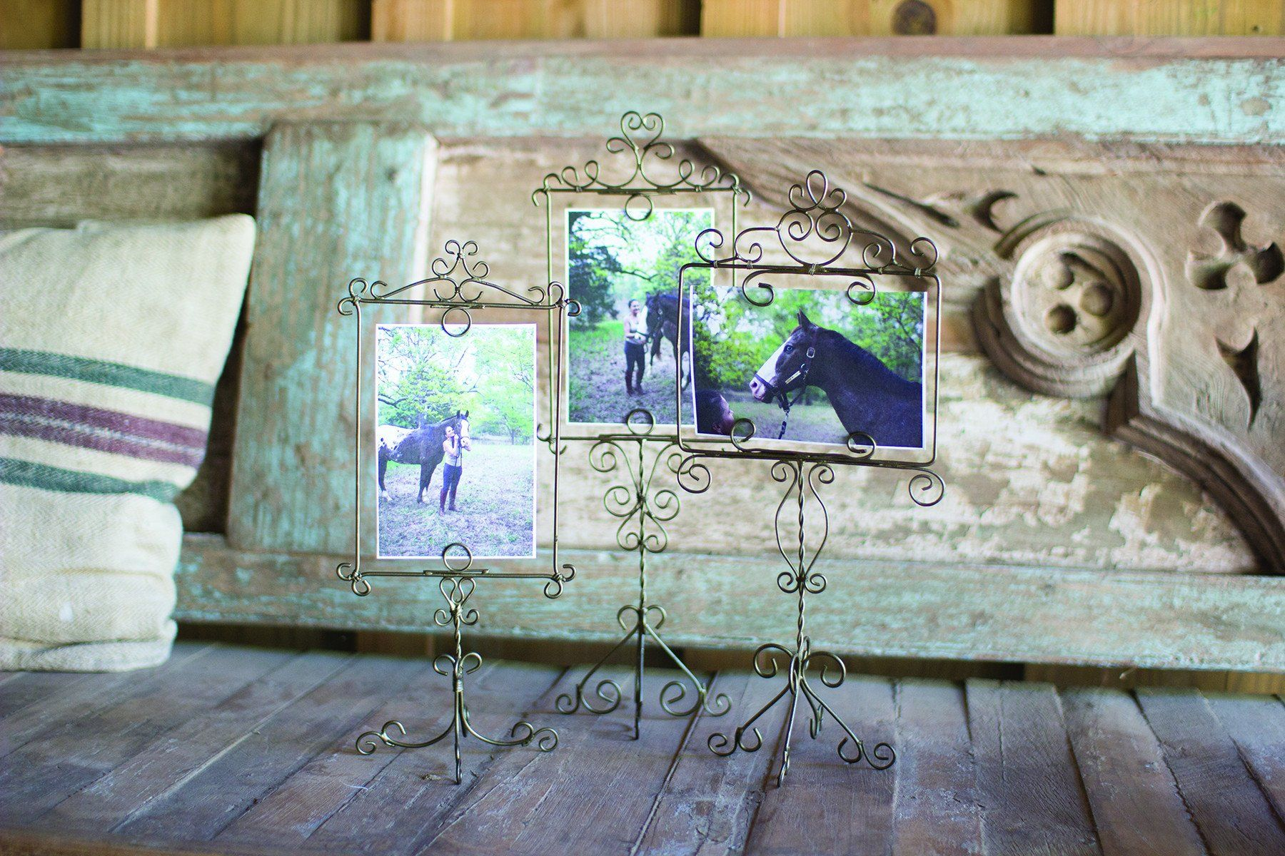 Kalalou Wire Photo Frames On A Stand - Antique Brass - Set Of 3 ...