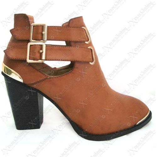 6dd22ccbcc9 WOMENS CHELSEA ANKLE BOOTS BUCKLE LADIES PU CUT OUT CHUNKY HEEL BIKER TRIM  SHOES