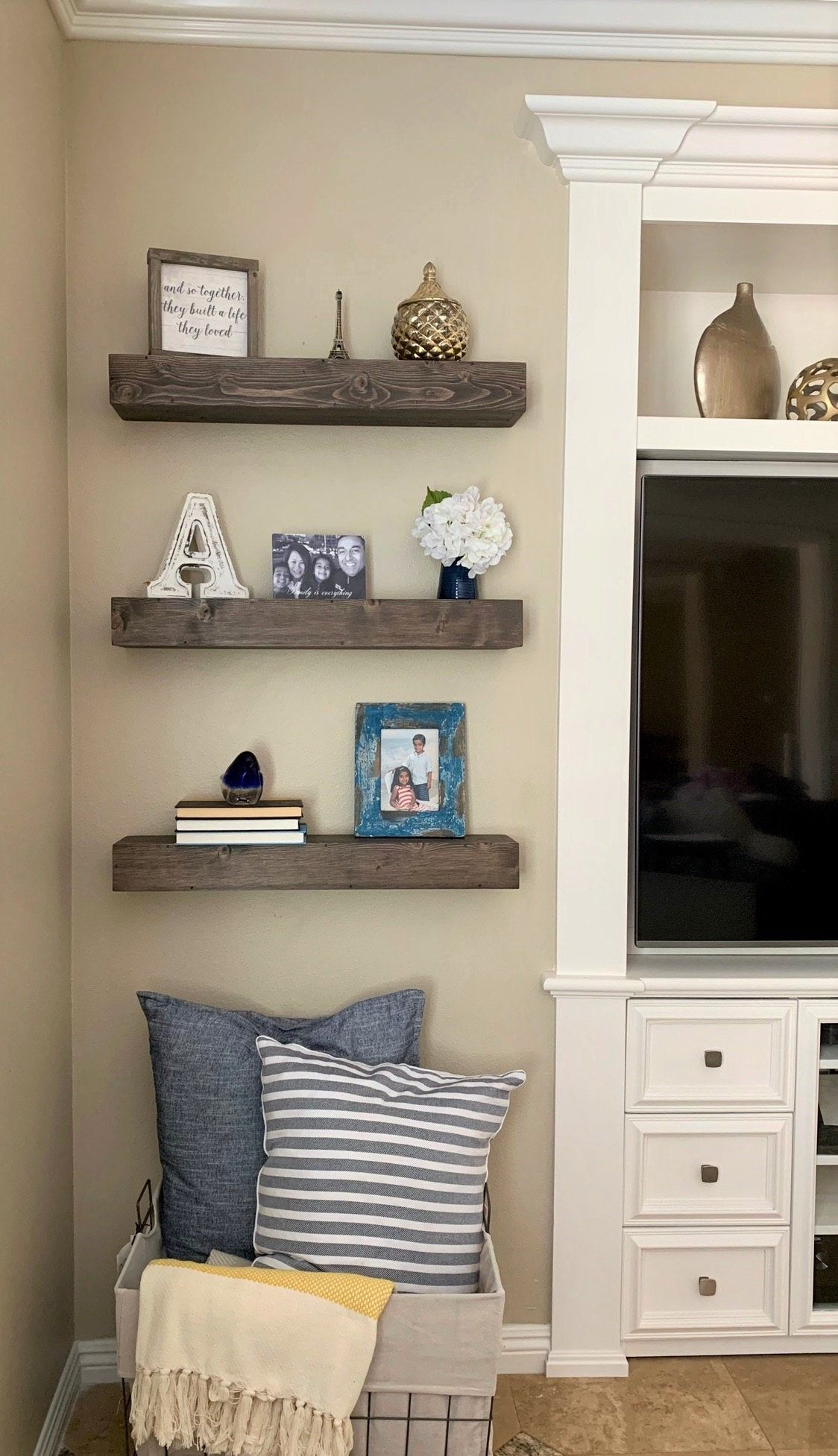 Chunky Floating Shelf Farmhouse In 2020 Shelf Decor Living Room Floating Shelves Living Room Farmhouse Shelves