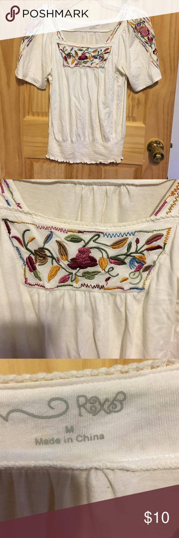 Cute White Top With Flower Patterns Flower Patterns Conditioning