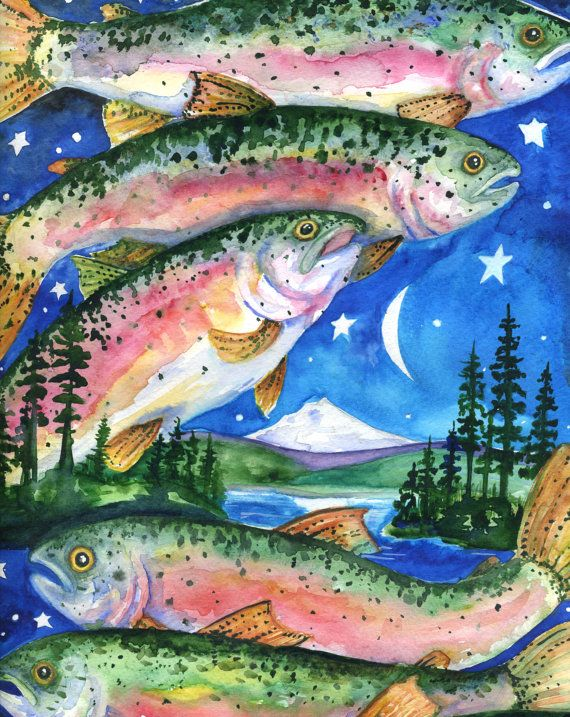 Detroit Lake 2010   8x10 Colorful Rainbow Trout by BlueLucyStudios