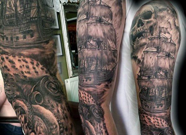 Sea Monster And Ship Tattoo