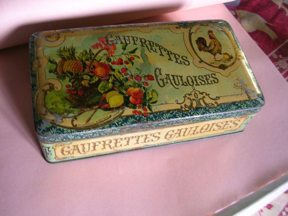 Boite ancienne en tole lithographiee gaufrettes gauloises - Boite metal ancienne ...