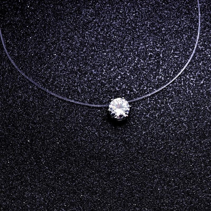 Invisible Transparent Fishing Line Link Chain Zircon Pendant Choker Necklace CA
