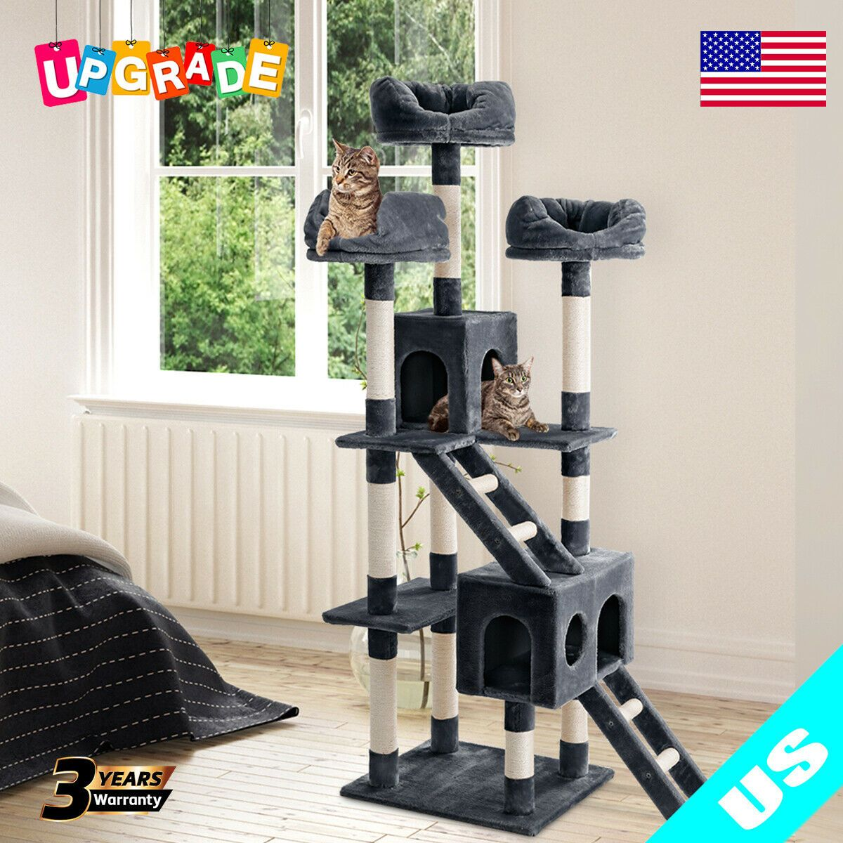 70 Cat Tree Bed Furniture Scratching Tower Post Condo Kitten Pet House Beige US  Cat Furniture  Ideas of Cat Furniture  70 Cat Tree Bed Furniture Scratching Tower Post Co...