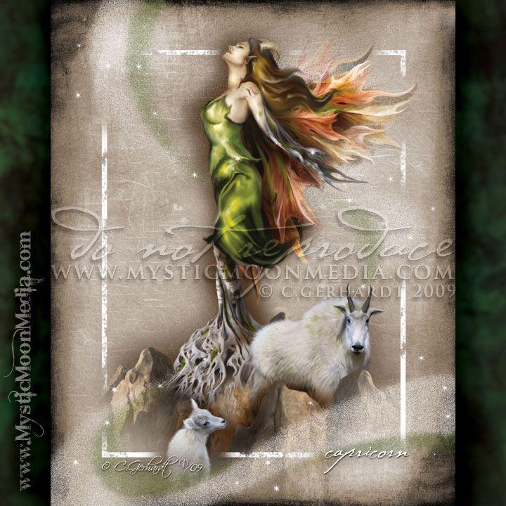 """Capricorn"" - from my Zodiac Collection. December 22 - January 19 http://www.mysticmoonmedia.com/collections/art-gallery-giclee-prints-mystic-moon-media/products/capricorn #FantasyArt #FantasyArtwork #DigitalPainting #FantasyArtPrints #digitalFantasyArt #ZodiacFairy #Fairy #FairyPic  -C.Gerhardt"
